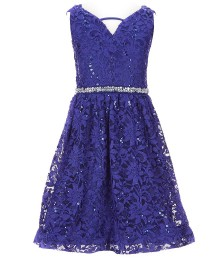 Bonnie Jean Cobalt Beaded Waist Sequin Embellished Lace Dress  Big Girl