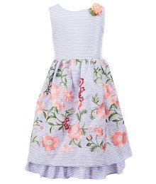 Laura Ashley Grey/White Striped Floral Embroidered Dress