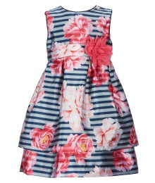 Pippa & Julie Blue/Pink/ Multi Stripe Floral Dress