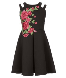 Tween Diva Black Floral Embroidered A Line Dress