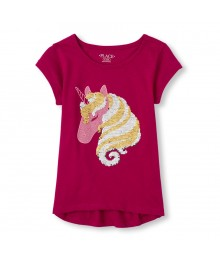Children's Place Neon Flip Sequin Horse Head Graphic Top