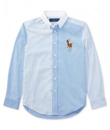 Polo Rl Blue (Sky) With Blue & White Vertical Stripes And White Collar Big Pony L/S Shirt