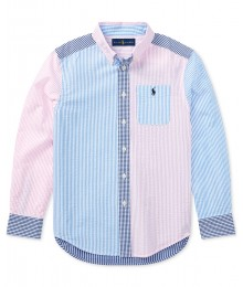 Polo Rl Pink/Blue/White Striped & Checkered L/S Shirt