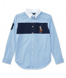Polo Ralph Lauren Blue With Blue Chest Stripe L/S Shirt
