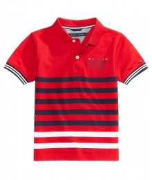 Tommy Hilfger Red With Black White Stripe Wt Tommy H Back Inscription Polo Shirt