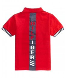 Tommy Hilfger Red With Black White Stripe Wt Tommy H Back Inscription Polo Shirt  Little Boy