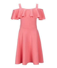 Honie & Rosie Coral Off (Cold) Shoulder  Fit & Flare Dress