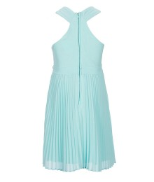 Rare Editions Sky Blue Pleated Beaded Waist Cross Shoulder Dress