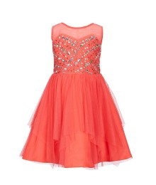 Rare Editions Coral Illusion Neck Beaded Dress