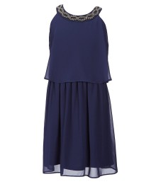 In Girl Blue Necklace Detailed Chiffon Dress