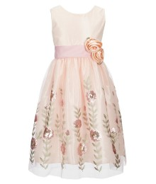 Jayne Copeland Cream/Pink/Multi Sequin Floral Embroidered Dress