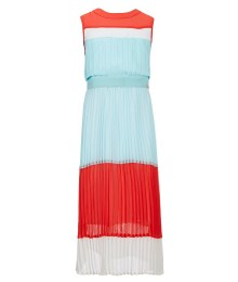 Marciano Light Blue/ Coral/Multi Color Block Pleated Long Dress