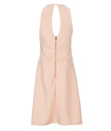 Miss Behave Malory Peach Sleeveless Scuba Fit & Flare Dress