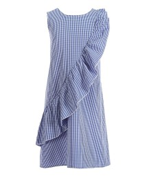 Honie & Rosie Navy/White Sleeveless Ruffle Shift Dress