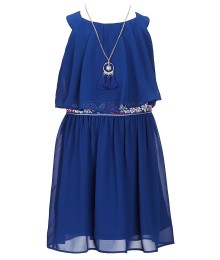 In Girl Blue Cobalt Sleeveless Dress With Embroidered Multi Waist
