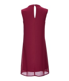 In Girl Plum Red Sleeveless Dress With Necklace