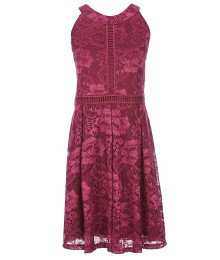 In Girl Plum Halter Neck Lace Dress