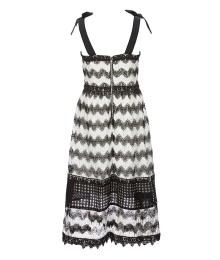 Gb Girls Black/White Zig Zag Lace Midi Shoulder Tie Dress