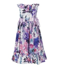 Laura Ashley Purple Multi Floral Print Ribbon Dress