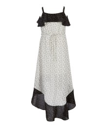 My Michelle Black/Ivory Wt Circles Wrap Dress