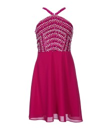 Tween Diva Magenta Beaded Bodice Fit & Flare Dress