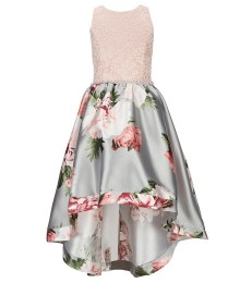 Xtraordinary Cream/Grey Lace/Floral High-Low Dress