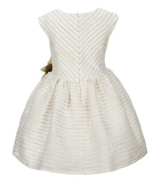 Pippa & Julie Cream Striped Floral Applique Dress