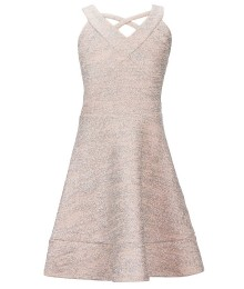 Honie & Rosie Silver Metallic Criss-Cross Neck Dress