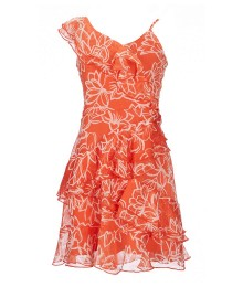Gb Girls Coral Printed Floral Asymetric Ruffle Dress  Big Girl