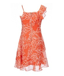 Gb Girls Coral Printed Floral Asymetric Ruffle Dress
