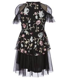Pippa & Julie Black Floral Embroidered Dress