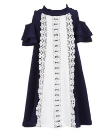 Bonnie Jean Blue With White Knit Front Cold Shoulder Dress