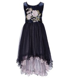 Bonnie Jean Navy Sequin Embroidered High Low Dress