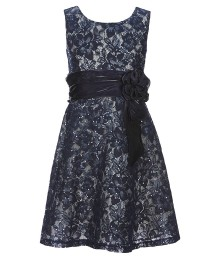 Bonnie Jean Navy Sequin Lace Dress  Big Girl