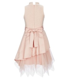 Bonnie Jean Peach Beaded Waist Asymmetrical Dress