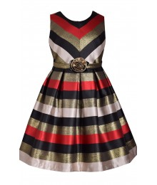 Bonnie Jean Red/Gold /Black/Cream Miter Stripe Bow Waist Dress