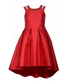 Bonnie Jean Red Split Shoulder Pleated Dress