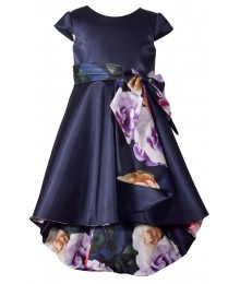 Bonnie Jean Navy Floral Lining High Low Dress