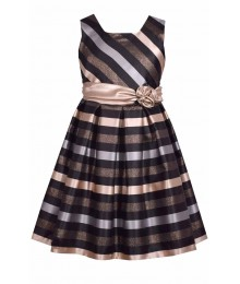 Bonnie Jean Gold/Silver/Black Stripe With Gold Waist Bow Dress