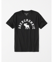 Abercrombie Black Boys White Embroidered Deer Tee