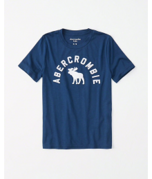 Abercrombie Blue Boys White Embroidered Deer Tee