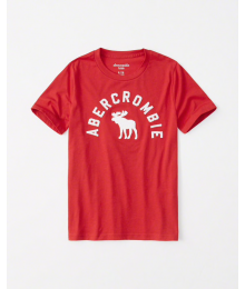 Abercrombie Red Boys White Embroidered Deer Tee