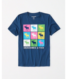 Abercrombie Blue Multi Deer 9 Square Tee