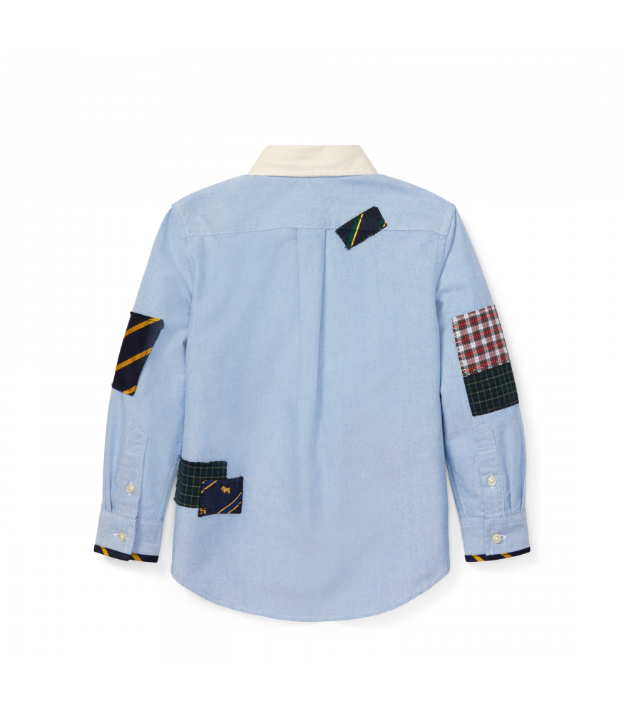Ralph Polo Skull Lauren Blue Ls Shirt Patchwork With htsQxBdCr