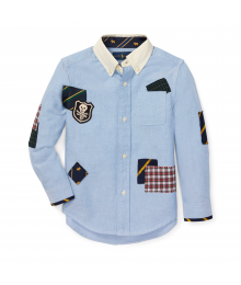 Polo Ralph Lauren Blue Patchwork With Skull L/S Shirt  Big Boy