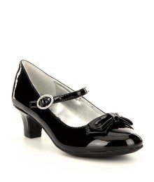 Nina Girls Black Patent Leather Branded Strap Dress Shoe