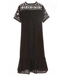 Gb Girls Black Chiffon Embroidered Peasant Shift Dress
