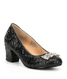 Badglel Mischka Black Girls Glitter Pumps