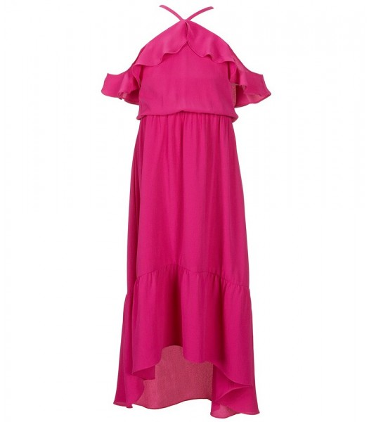 Gb Girls Purple Spagh Ruffle Cold Shoulder Midi Dress
