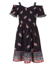 Zoe & Rose Navy Cold Shoulder Smocked Dress Wt Paisley Dress - Medium
